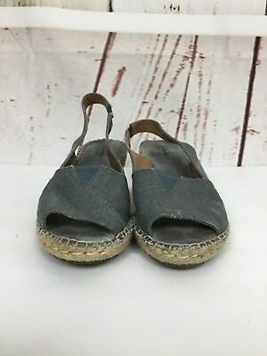 ca37f1ef5587 Clarks Petrina Linen Metallic Blue Wedge Open Toe Espadrille Sandals Size 8  M