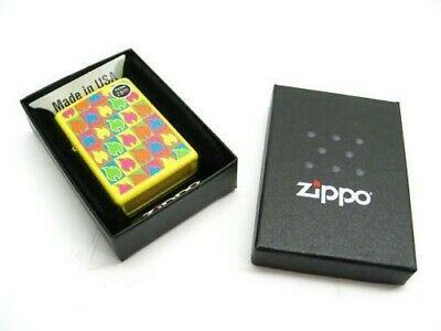Zippo 28954 Full Size Neon Yellow Pattern Flame Logo Classic Windproof Lighter