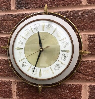 Vintage Wall Clock Metamec Zodiac , Electric