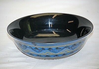 Old Vintage Yucatan Coupe Cereal Bowl by Arcoroc France Black & Tan Aztec Blue