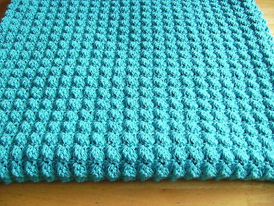 New Crochet Turquoise Baby Toddler Blanket Hand Crochet