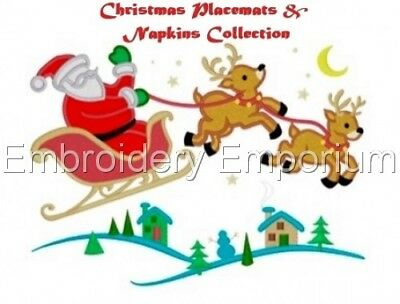 Christmas Placemats & Napkins Collection - Machine Embroidery Designs On Cd/Usb