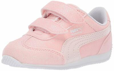 PUMA Shoes Girls Whirlwind Glitz V Toddler Infant Baby Kids Silver Pink Sneaker