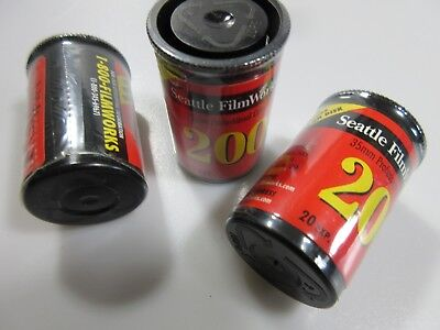 Seattle Filmworks 35mm Professional Color Film Canisters ISO 200 20 Exp Lot of 3
