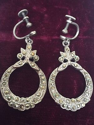 Vintage True Art Deco Sterling Silver Marcasite Dangle Drop Screw Back Earrings