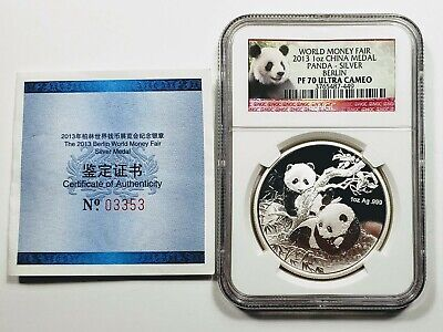 2013 China Panda 1 oz. 999 Silver Medal NCG PF 70 Berlin World Money Fair