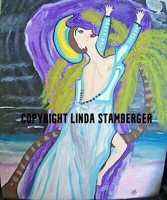 Moon Beach Goddess Original Expressionist Art Painting by Linda Stamberger