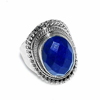Faceted-Lapis Lazuli Solid 925 Sterling Silver Ring  Jewelry Size- ASR-3700