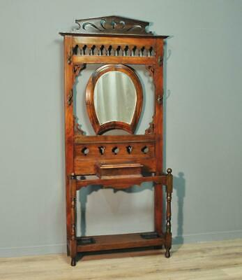 Attractive Large Antique Victorian Walnut Mirror Back Coat Stick Hallstand Stand