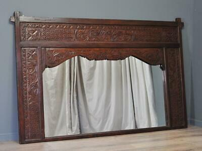 Attractive Very Large Vintage Ornately Carved Eastern Wall Screen With Mirror