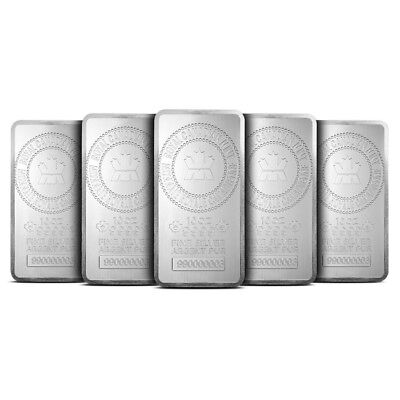 Lot of 5 - Royal Canadian Mint RCM 10 Oz .9999 Fine Silver Bar - New & Sealed