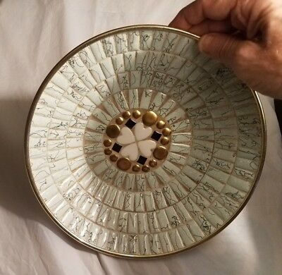 Tile Mosaic Vintage Mid Century Bowl Gold Aluminum Shell EXC Retro Hearts Theme