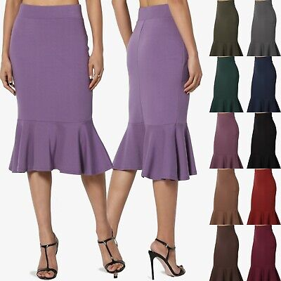 TheMogan Trumpet Peplum Hem Fishtail Mermaid Fit & Flared Knee Pencil Midi Skirt