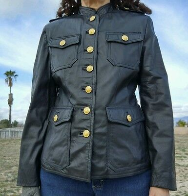 Woman's Black Leather Military Style Jacket by Wilson's Gold Brass Buttons retro