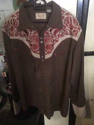 Vintage Scully Embroidered Mens Western Shirt