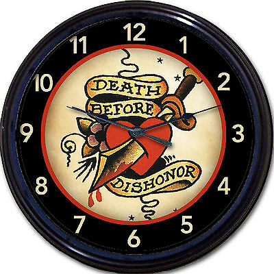 Tattoo Old School Wall Clock Military Death Before Dishonor Tat Parlor Man Cave
