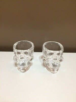 Lot of 2 Crystal Head Vodka Skull Glass Shot Glasses