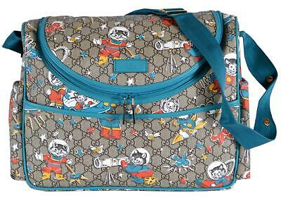 051d29e87b66 NEW Gucci 123326 Coated Canvas Space Cats Baby Diaper Bag Messenger Purse