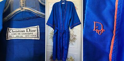 Vtg Men's Christian Dior Robe De Chambre Dressing Gown Royal Blue Red Piping O/S