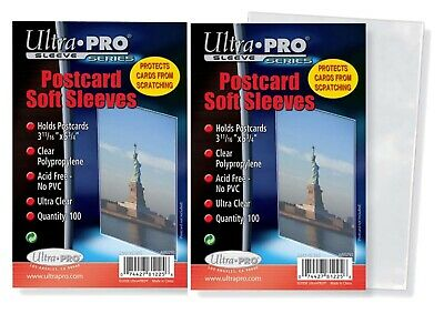 "Ultra Pro 3 11/16"" x 5 3/4"" Soft Sleeves for Vintage Postcards 200 Count"