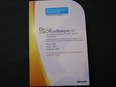Microsoft Office basique 2007 word + excel + outlook NEUF