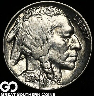 1934 Buffalo Nickel, Very Nice Near Gem BU++