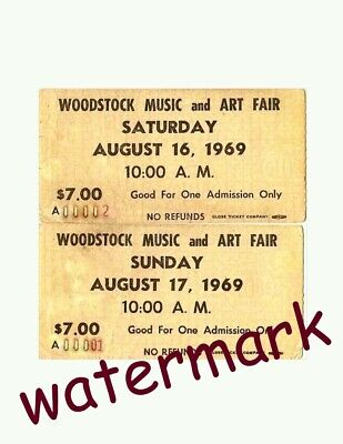 Rare Vintage Woodstock Concert Tickets August 16,1969 50th ANNIVERSARY PHOTO