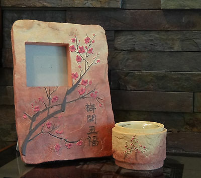 WESTLAND GIFTWARE PICTURE FRAME with MATCHING CANDLE HOLDER ~ PLUM BLOSSOMS