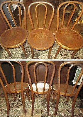 Antique Thonet Bentwood Chairs Bistro Poland Cafe Parlor Set Wood No. 14 Chair 3