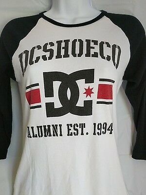 DC Shoes Mens Medium Raglan Baseball Tee Shirt White Black & Red Barely Worn K32