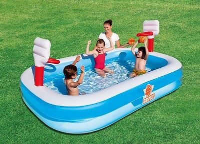 Bestway Inflatable 2.54M Kids Basketball Swimming Play Pool Family Summer Game