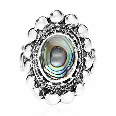 Vintage Motif Oval Abalone Inlay Sterling Silver Ring-9