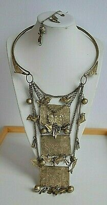 Huge Antique Chinese Tribal Hmong Miao Torque Tiered Silver Necklace & Bracelet