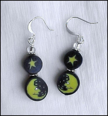 Man in the Moon Face Fimo Polymer Clay Earrings #0607F5