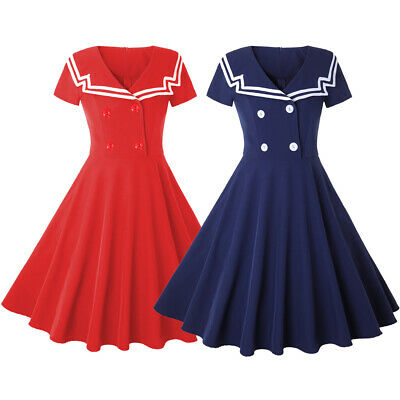 e015e56bad92 Womens Vintage Rockabilly 50s Sailor Short Sleeve Party Cocktail Swing Tea  Dress