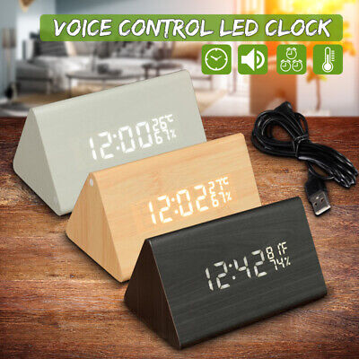Modern Wooden Wood Digital LED Alarm Clock Voice Control Calendar Thermometer US