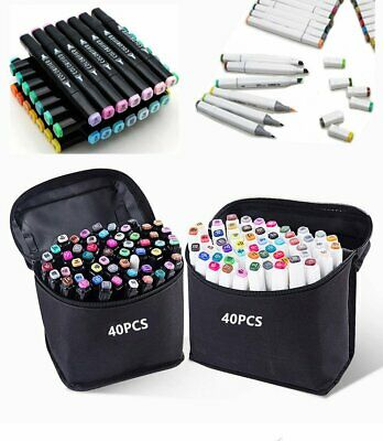 30 40 60 80 Colors Markers Marker Twin Tipped Mark Pens Graphic Drawing Bag
