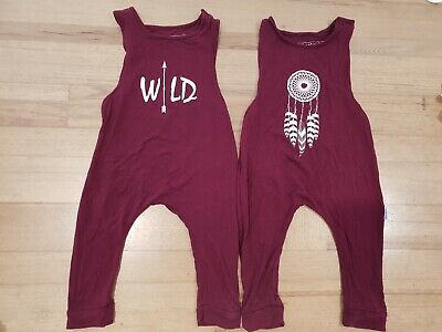 Boys or girls Twin Breathable Bamboo Maroon Rompers 2-3 Years