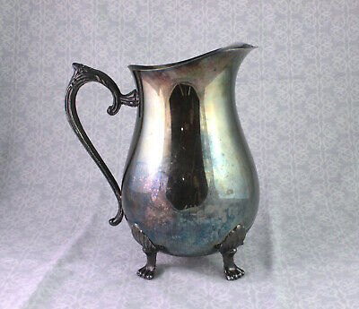 Silverplate Footed Water Pitcher with Ice Lip & Claw Feet Leonard Silver Plate