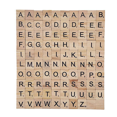 100 Wood Puzzle Tiles Letter Alphabet Scrabbles Number Craft English Words