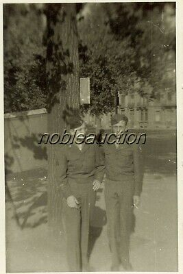 1945 Two US Soldiers WWII in Luxemburg Posing Together Photo B&W Snapshot