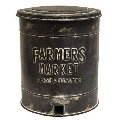 New Primitive FARMERS MARKET BLACK Trash Bin Metal Distressed Embossed Country
