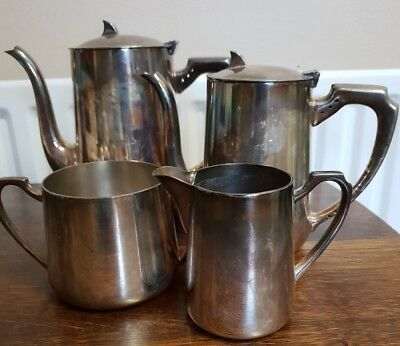 vintage silver plate TEAPOT milk and sugar
