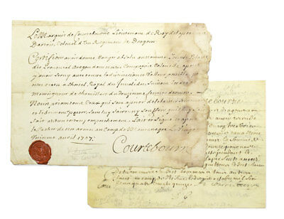 "Louis XIV / Two manuscript documents signed ""Courtebourne"" one signed 1707"