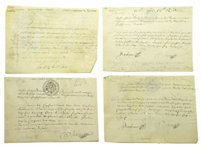 "Louis XIV / Four manuscript documents signed ""Brulart du Rancher"" or 1705"