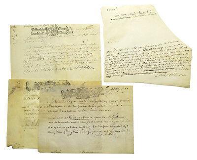 Louis XIV / Four manuscript documents one being autograph manuscript signed