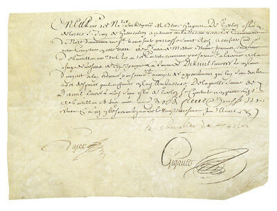 "Louis XIV / Manuscript document signed ""le Chevalier de Terlon"" 1664"