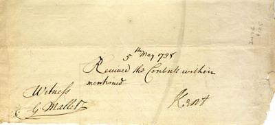 "Henry Kent / Manuscript receipt signed ""Kent"" on verso of an order 1738"
