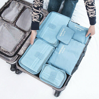 6Pcs Waterproof Travel Clothes Storage Bags Luggage Cube Organizer Pouch Packing
