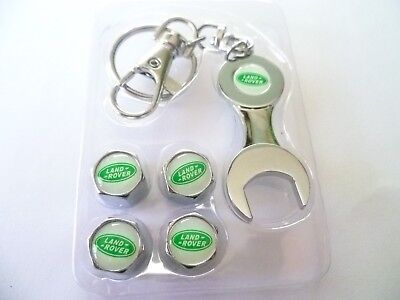 Land Rover  Chrome With Logo Tyre Dust Caps With Spanner Key Ring
